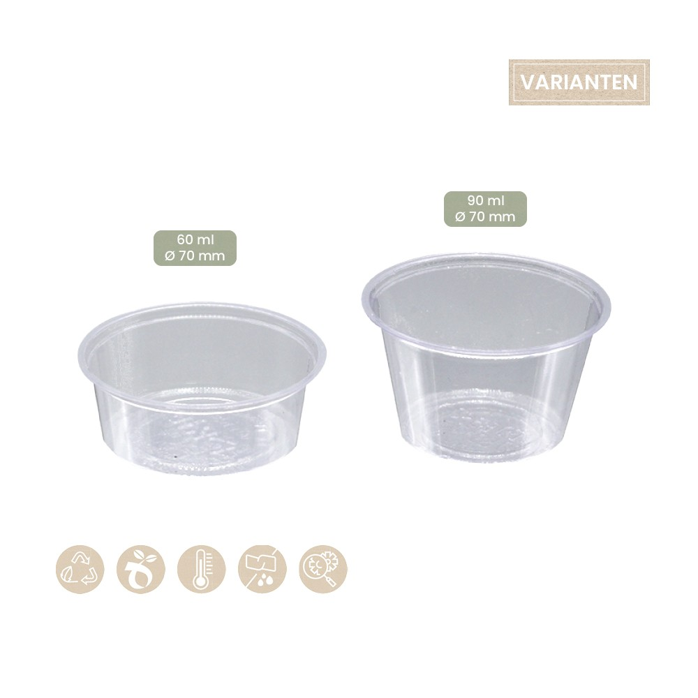 BIO Dressingbecher PLA mit 60 ml und 90 ml, 115-02-0006, 115-02-0001