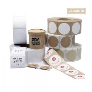 Aufkleber für Take Away Verpackung rund 60mm Ø für individuelles Branding in fünf unterschiedlichen Materialien