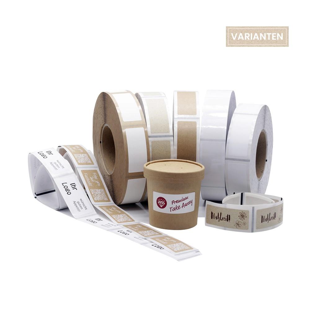 Aufkleber für Take Away Verpackung rechteckig 70x30mm für individuelles Branding in fünf unterschiedlichen Materialien