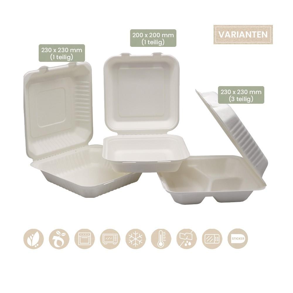 BIO Menübox mit Klappdeckel 1tlg. und 2tlg. für Kaltes & Warmes aus BePULP 200-02-0071, 200-02-0073, 200-02-0074