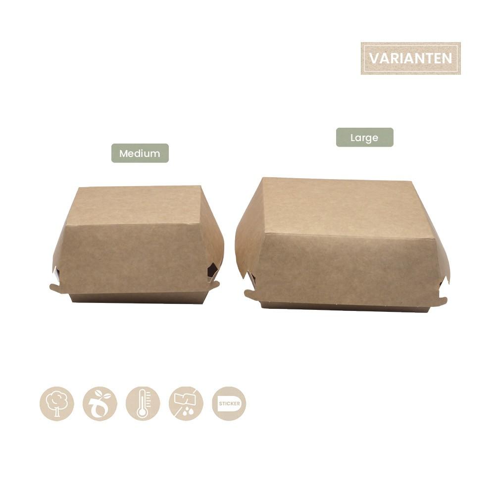 Burgerbox mit Klappdeckel aus Papier 102-01-0327, 102-01-0328