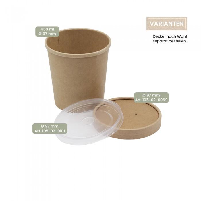 BIO Speisenbecher und Suppenbecher aus Papier für Kaltes & Warmes 450 ml mit Papier-Deckel und PP-Deckel