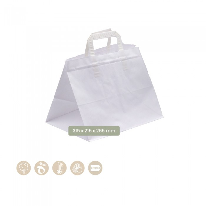 Tragetasche mit Henkel weiß (Papier) - 108-07-0083
