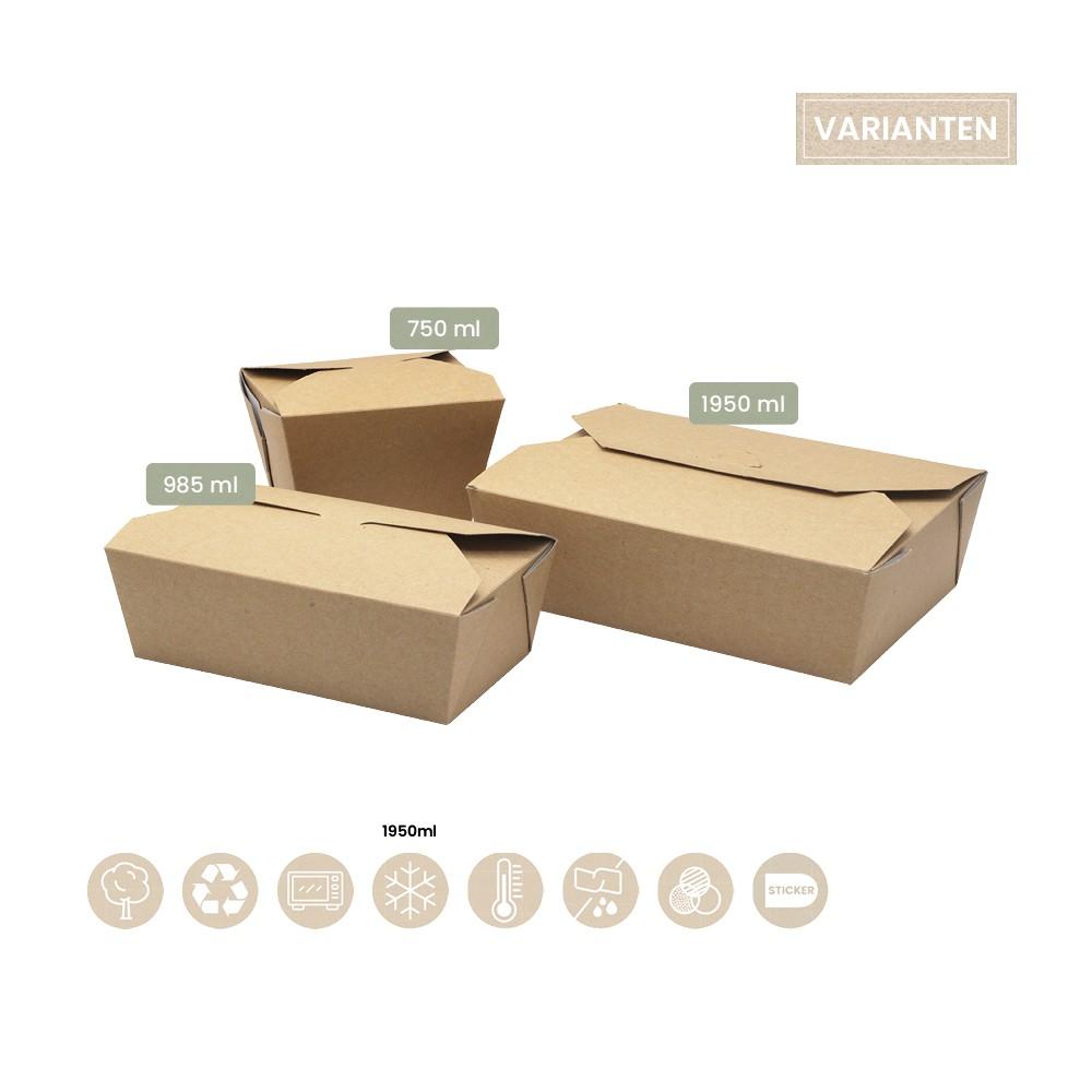 BIO Foodbox mit Klappdeckel eckig aus Papier 105-02-0044, 105-02-0047, 105-02-0049