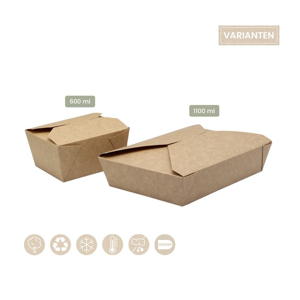 BIO Foodbox mit Klappdeckel eckig aus Papier 200-02-0053, 200-02-0054