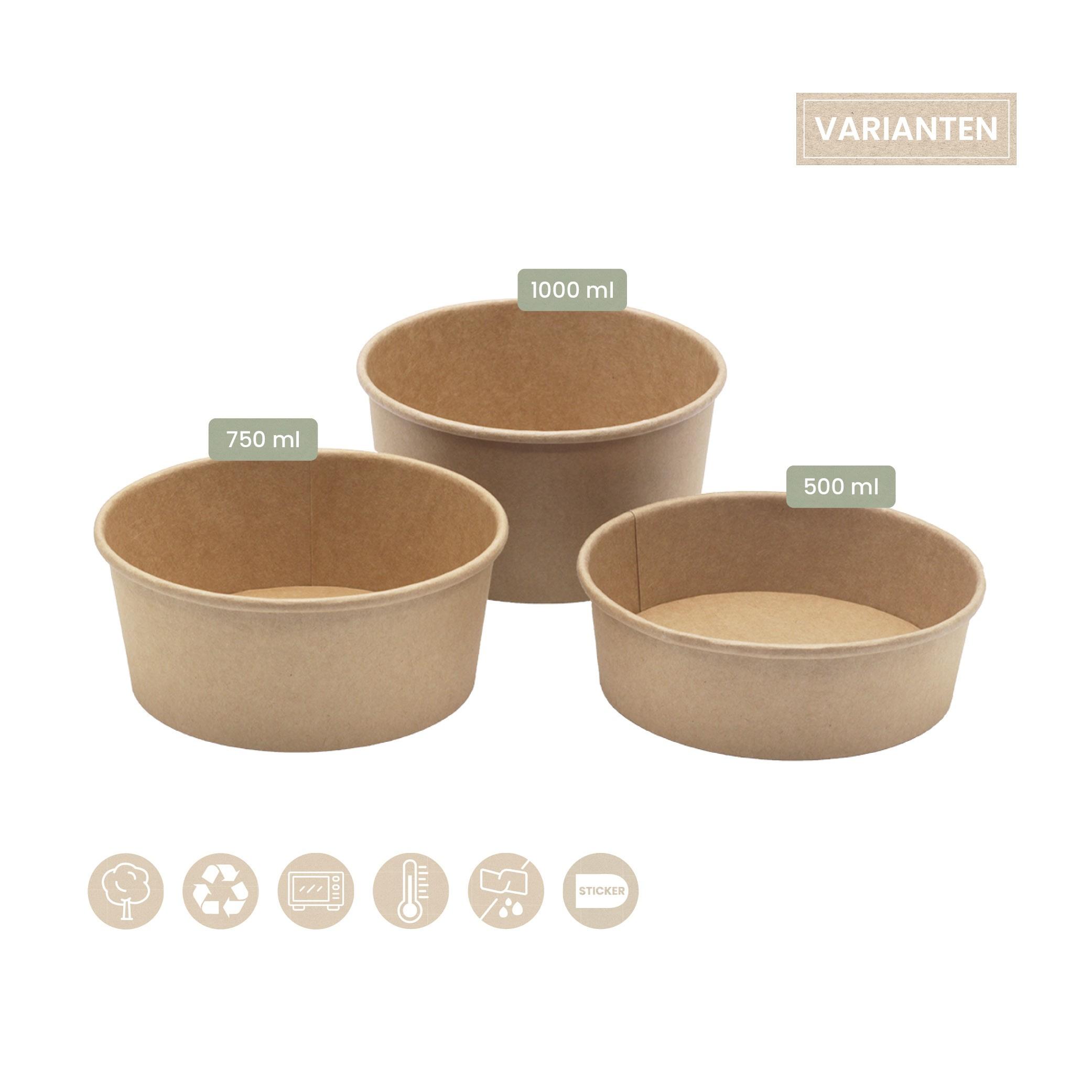 BIO Menü- und Salatbecher rund für Kaltes aus Papier 102-02-0043, 102-02-0044 und 102-02-0045
