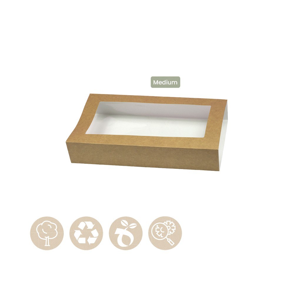 105-05-0009 Hülle für Catering - Tray Platter Medium mit Sichtfenster (Papier / Zellulose)