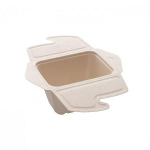 104-01-0163 Foodbox mit Klappdeckel 1teilig für Warmes & Kaltes 500ml 13x7cm (PULP)