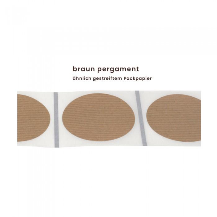 Aufkleber rund 60 mm Ø braun pergament matt