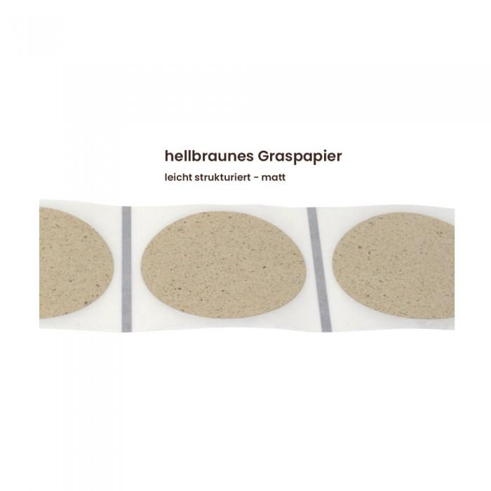 Aufkleber rund 60 mm Ø hellbraunes Graspapier matt