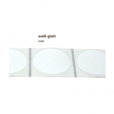 Aufkleber rund 60 mm Ø weiß glatt matt