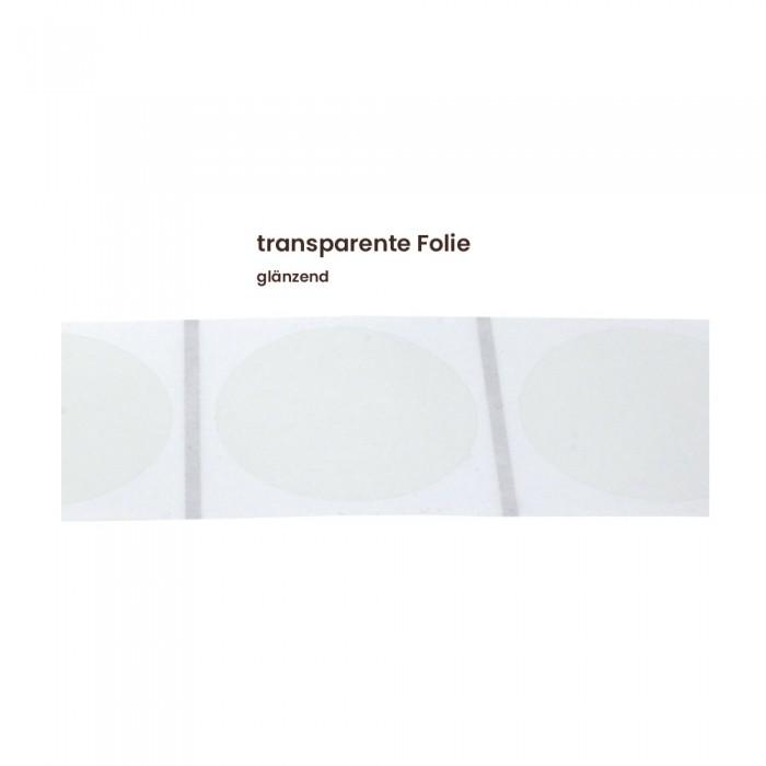 Aufkleber rund 60 mm Ø transparente Folie glänzend