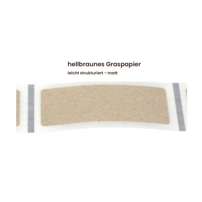 Aufkleber rechteckig 70x30 mm mit abgerundeten Ecken hellbraunes Graspapier matt
