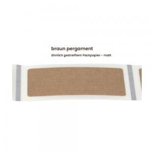Aufkleber rechteckig 70x30 mm mit abgerundeten Ecken braun pergament matt