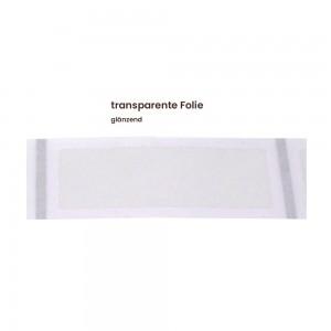 Aufkleber rechteckig 70x30 mm mit abgerundeten Ecken transparente Folie glänzend