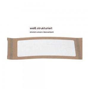 Aufkleber rechteckig 70x30 mm mit abgerundeten Ecken weiß strukturiert matt