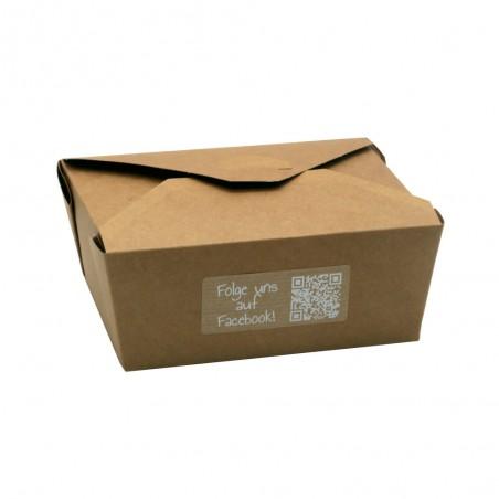 Take Away Verpackung mit Aufkleber rechteckig 70x30 mm