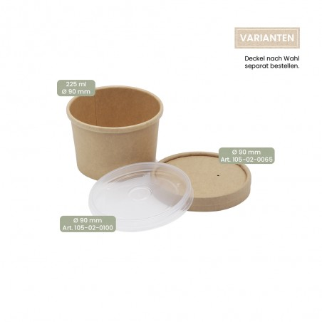 BIO Speisenbecher und Suppenbecher aus Papier für Kaltes & Warmes 225 ml mit Papier-Deckel und PP-Deckel