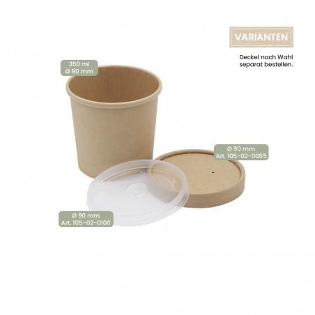 BIO Speisenbecher und Suppenbecher aus Papier für Kaltes & Warmes 350 ml mit Papier-Deckel und PP-Deckel