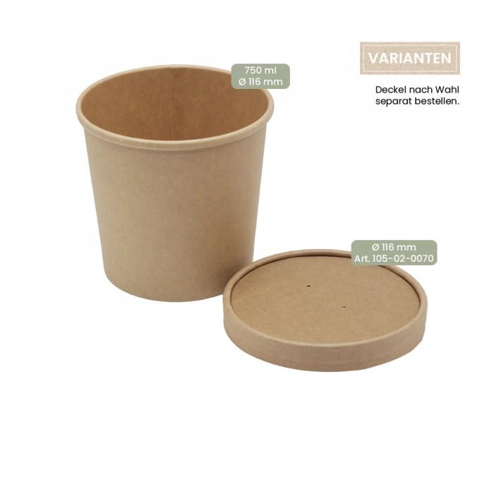 BIO Speisenbecher und Suppenbecher aus Papier für Kaltes & Warmes 750 ml mit Papier-Deckel