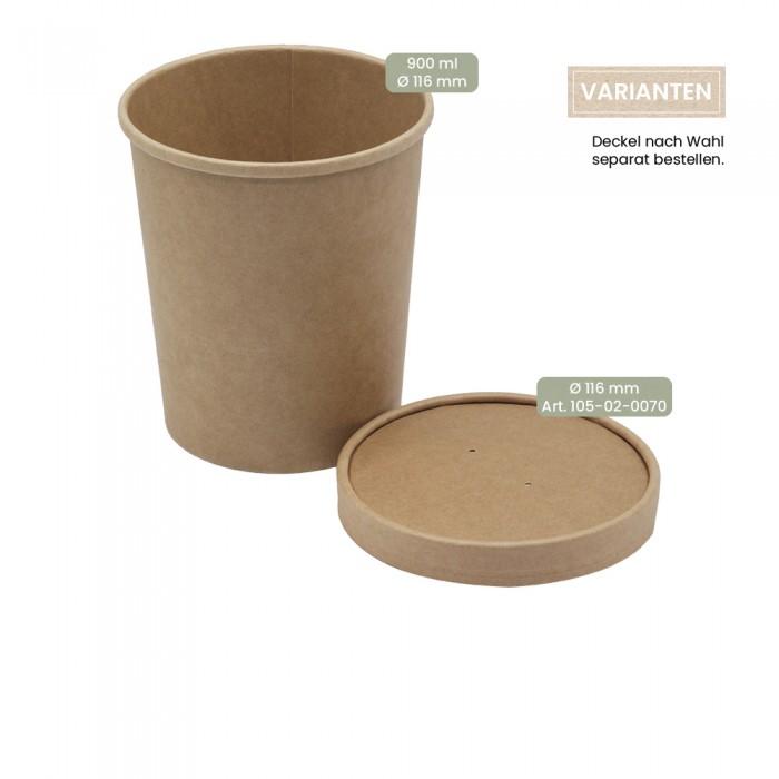 BIO Speisenbecher und Suppenbecher aus Papier für Kaltes & Warmes 900 ml mit Papier-Deckel und PP-Deckel