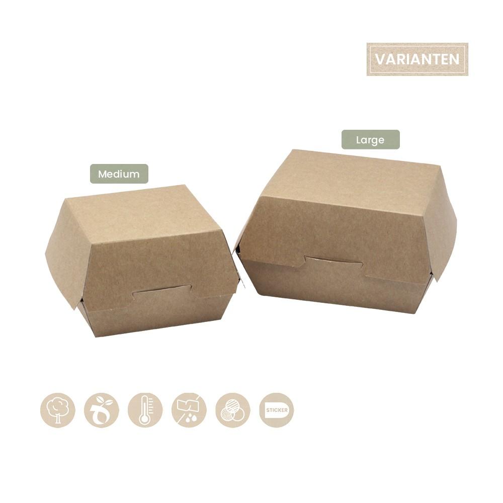 BIO Burgerbox mit Klappdeckel aus Papier 105-01-0033, 105-01-0035
