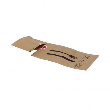 108-06-0043 Bestecktasche aus Papier mit Selbstklebestreifen und Aufreißperforation