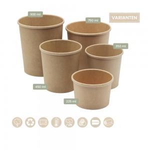 BIO Speisenbecher und Suppenbecher aus Papier für Kaltes & Warmes in fünf verschiedenen Größen