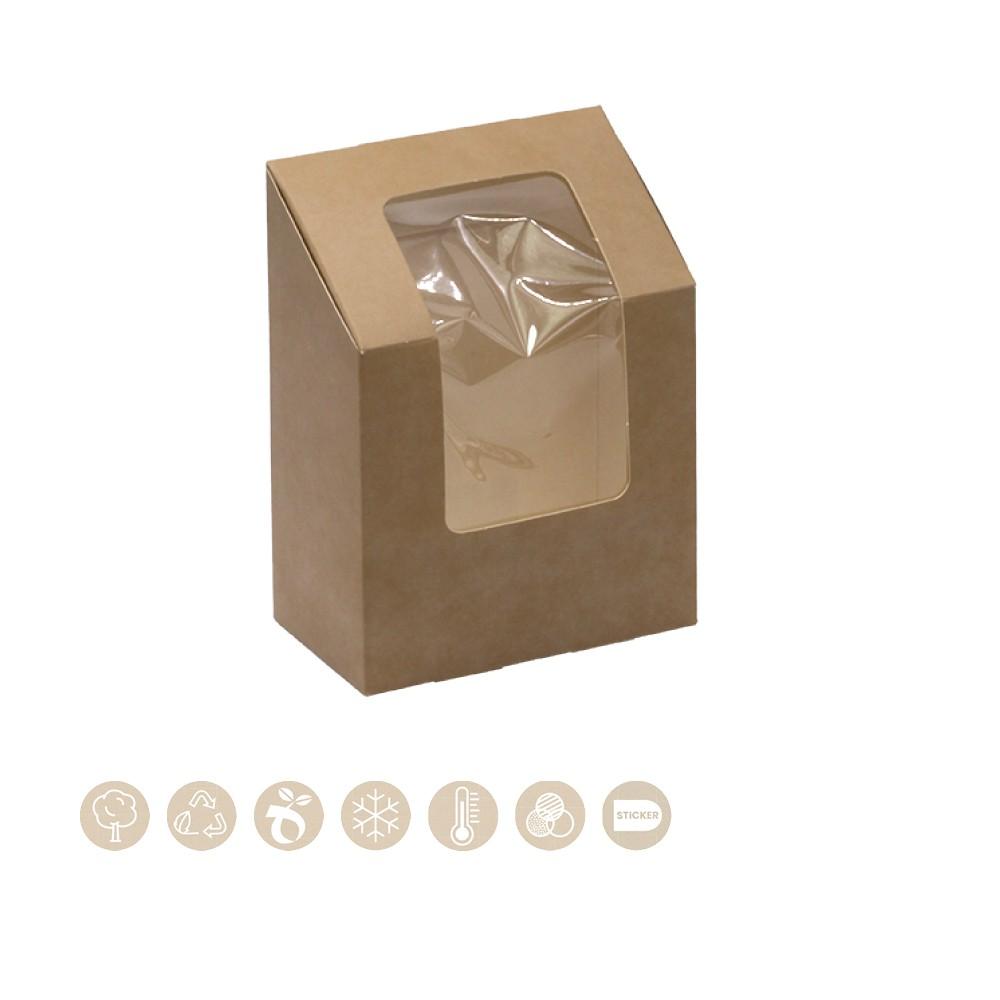 BIO Box für Wraps und Tortillas mit Sichtfenster aus Papier 105-01-0190
