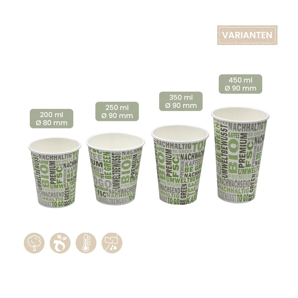 BIO Coffee-To-Go Trinkbecher BeGreen aus Papier 200ml, 250ml, 350ml, 450ml 108-02-0041, 108-02-0042, 108-02-0043, 108-02-0044